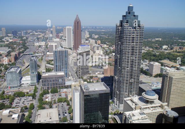 Atlanta Georgia downtown Westin Peachtree Plaza Sun Dial Restaurant revolving restaurant view building skyline skyscraper - Stock Image