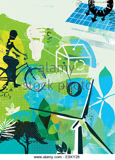 Collage of alternative energy and environmentally friendly lifestyle - Stock Image
