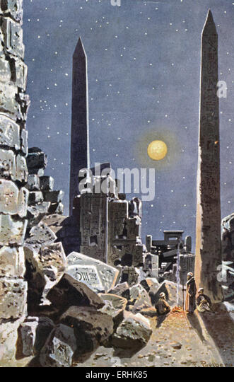 Obelisks of Karnak. Ancient Egyptian momunment. Illustration shows three men camping by moonlight in front of the - Stock Image