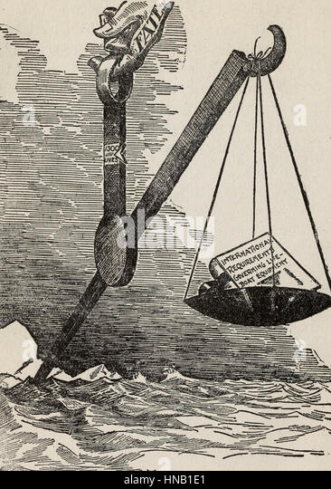 The Tragedy of the Titanic - showing the International Requirements governing lifeboat equipment coming up light - Stock Image