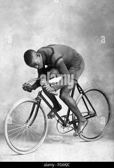 Marshall Walter 'Major' Taylor an American cyclist who won the world 1 mile (1.6 km) track cycling championship - Stock-Bilder