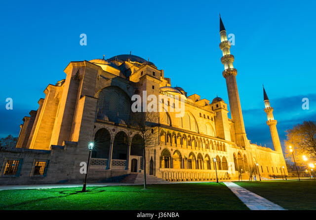 Night shot of Suleymaniye Mosque, an an Ottoman imperial mosque located on the Third Hill of Istanbul, Turkey, and - Stock Image