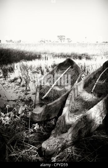 Dugout canoes in the Okavango Delta, Botswana - Stock Image