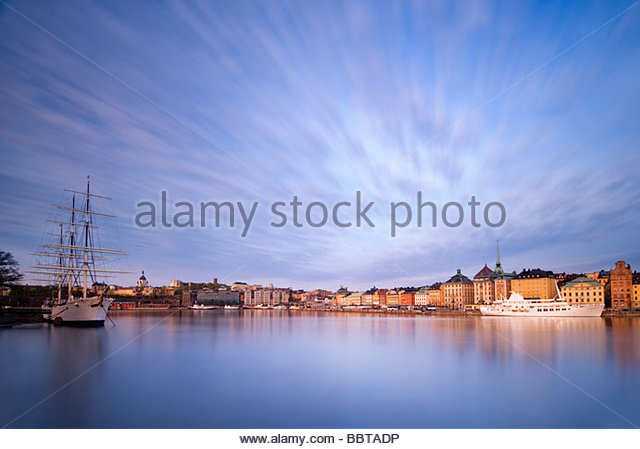 The Schooner, Af Chapman, and the old town of Stockholm, Sweden. - Stock Image