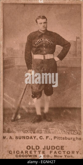 Billy Sunday, Pittsburgh Alleghenys, baseball card portrait, circa 1888.  Billy Sunday later became a well known - Stock Image