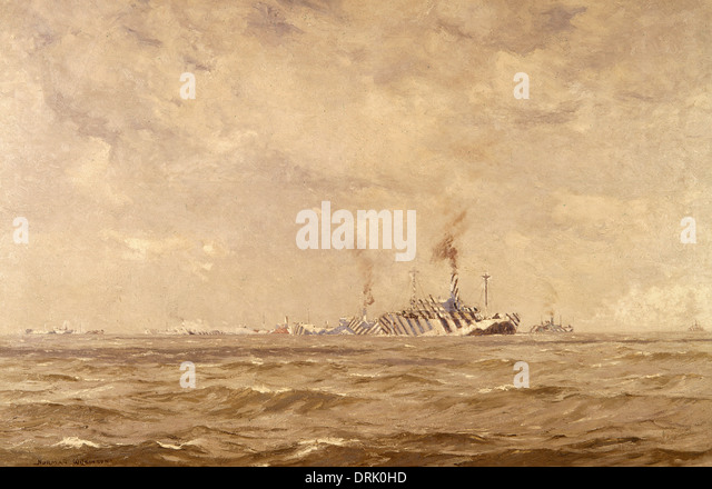 Convoy of dazzled ships, English Channel, WW1 - Stock Image