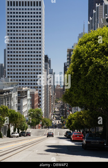 View down Stockton Street to the Bay Bridge, San Francisco, California - Stock Image