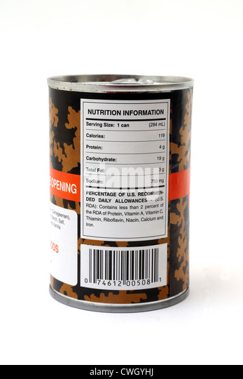 Can Of Big Bamboo Jamaican Irish Moss Vanilla Flavoured Drink Showing Nutrition Information On Label - Stock Image