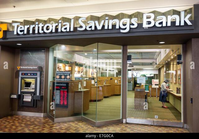Hawaii Oahu Hawaiian Honolulu Ala Moana Center centre mall Territorial Savings Bank front entrance money financial - Stock Image