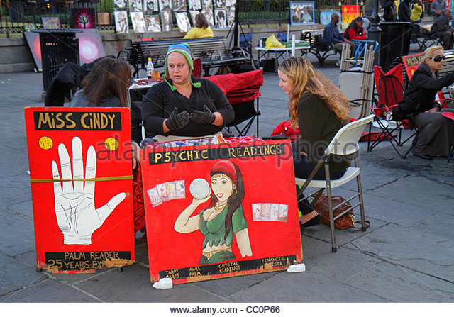 Louisiana New Orleans French Quarter Decatur Street Jackson Square landmark psychic reading woman sign palm reading - Stock Image