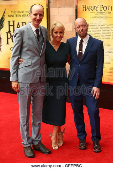 Writer Jack Thorne, author J.K. Rowling and writer-director John Tiffany (L-R) pose for photographers at a gala - Stock Image