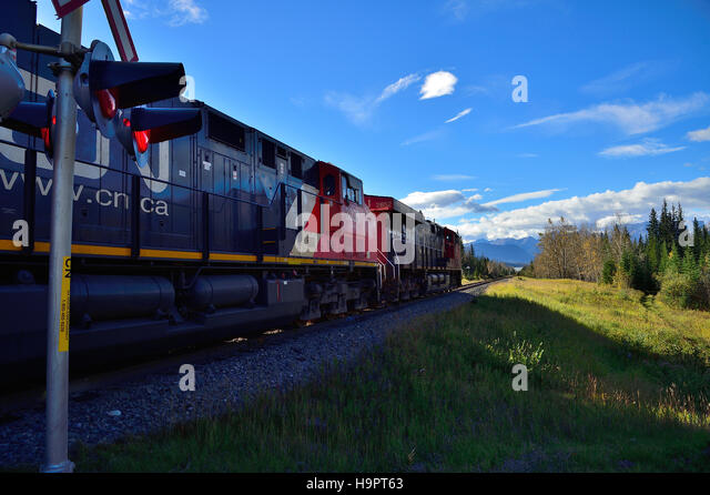 A C.N., freight train traveling toward the rocky mountains of Alberta Canada. - Stock Image