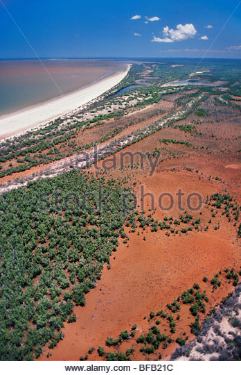 Mangrove coastline along Mozambique Channel (aerial), Western Madagascar - Stock Image