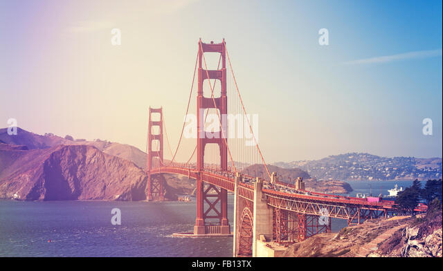 Retro stylized picture of the Golden Gate Bridge in San Francisco, USA. - Stock Image
