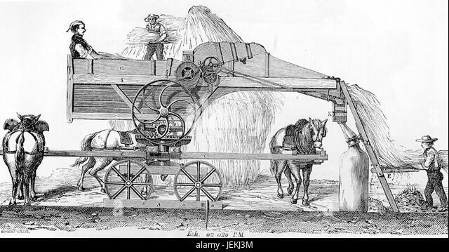 FRENCH HORSE POWERED THRESHING MACHINE in 1881 - Stock-Bilder