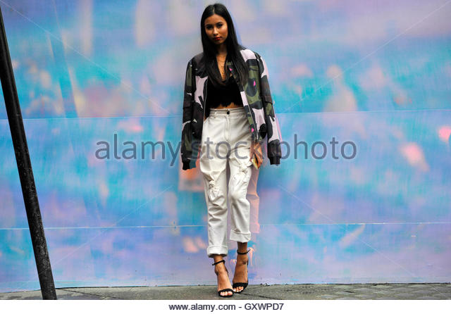 UK Big Brother Celebrity Evelyn Ellis at Brewer Street during London Fashion Week SS17 FW16 Street Style September - Stock Image