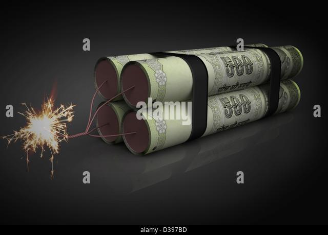 Illustration of lighted rupee dynamite - Stock Image