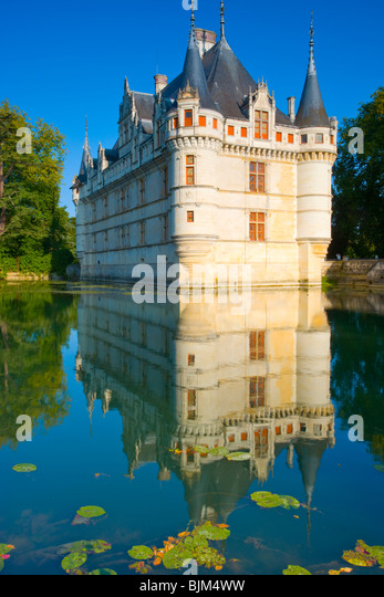 D'Azay-le-Rideau Castle, Loire Valley, France, Castle built in Middle Ages, Indre River Loire Valley, France, - Stock-Bilder