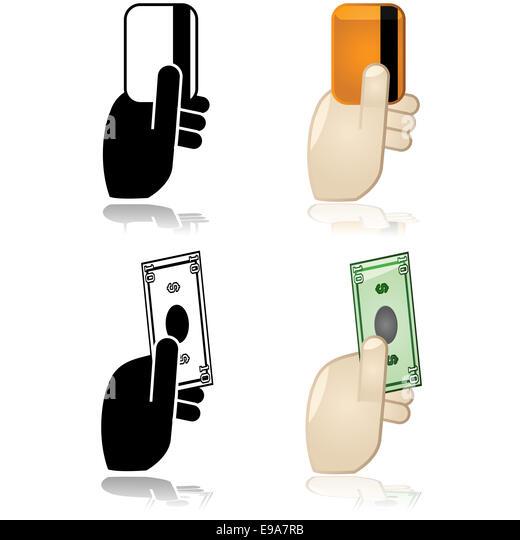 Cash, credit or debit payment options - Stock Image