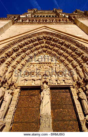 West facade of Notre Dame in Paris. - Stock Image