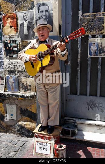 Gardelito, Tango street musician with guitar ,   San Telmo,  Buenos Aires, Argentina - Stock Image