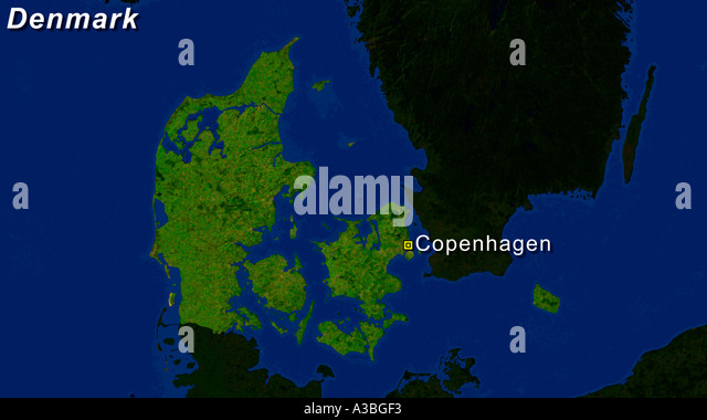 Satellite Image Of Denmark With Copenhagen Highlighted - Stock Image