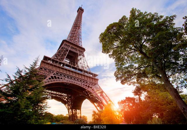 Europe, France, Paris (75), Eiffel Tower at Sunset - Stock Image