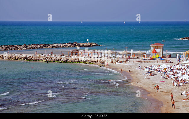 View of Hilton beach and the Mediterranean Sea, Tel Aviv, Israel - Stock Image