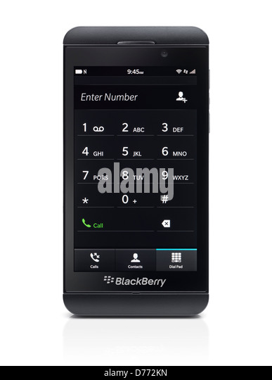 Blackberry Z10 smartphone with phone dial pad on its display. Black phone isolated on white background - Stock Image