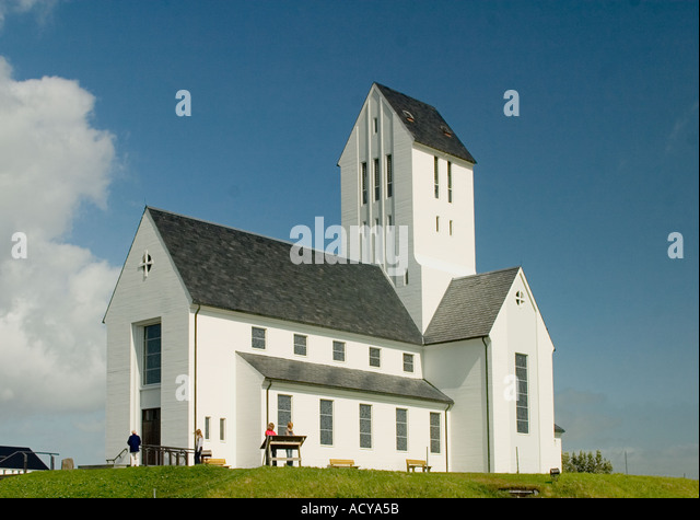 Iceland little village wooden church  - Stock Image