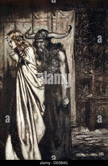 'O wife betrayed I will avenge they trust deceived!', 1924.  Artist: Arthur Rackham - Stock Image
