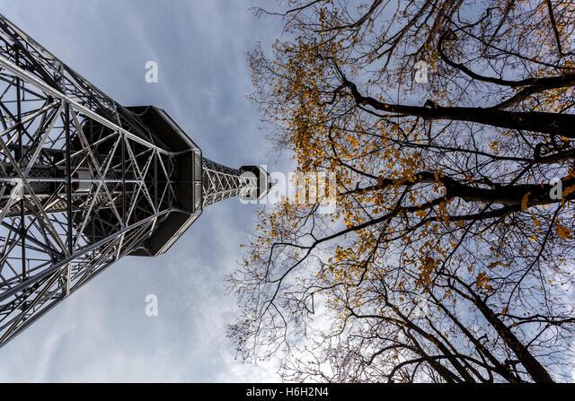 Petrin Hill,l Lookout tower, Prague, Czech Republic - Stock Image