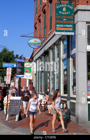 Portland Maine Historic Old Port District Congress Street Casco Variety shopping Custom House Wharf - Stock Image