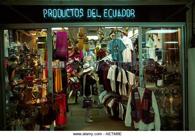 Ecuador Guayaquil airport gift shop souvenirs arts and crafts - Stock Image