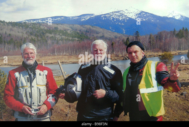 Ron Pipe Victor Emery UK and Maxim Stepanov who took part in the White Nights Rally Vladivostok Moscow St Petersburg - Stock Image