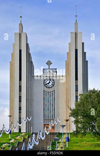 Akureyrarkirkja Lutheran Church, Akureyri, Iceland - Stock-Bilder