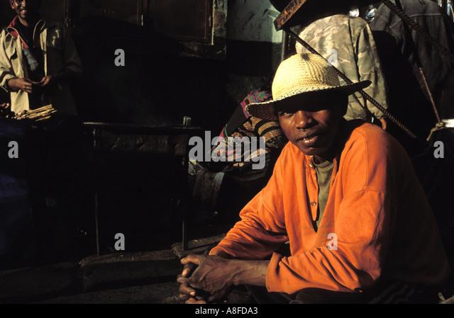 man who pulls carts in Antananarivo Madagascar - Stock Image