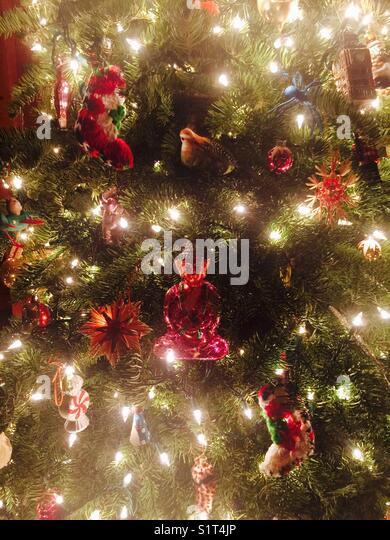 Christmas tree with Buddha - Stock Image