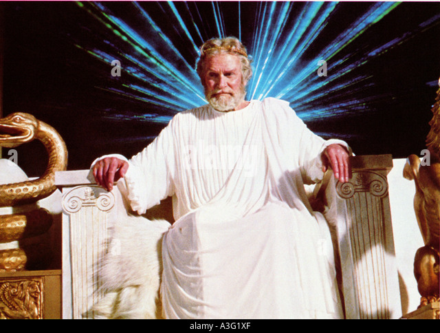 CLASH OF THE TITANS 1981 MGM film with Laurence Olivier as Zeus - Stock Image