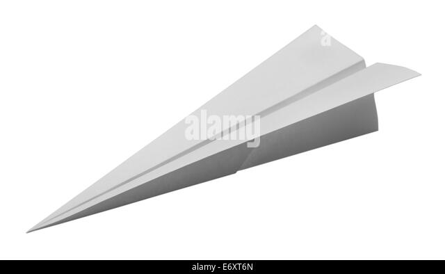 Dart Paper Airplane Isolated on White Background. - Stock Image