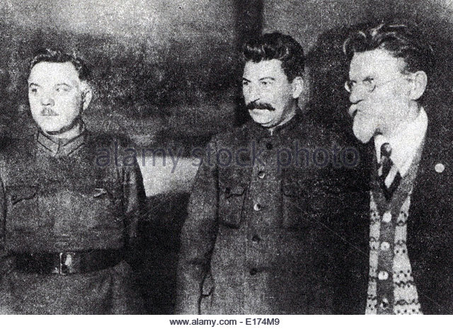 OVIET LEADERS : From left, Vorosylow, Joseph Stalin ,Mikhail Kalinin - Stock Image