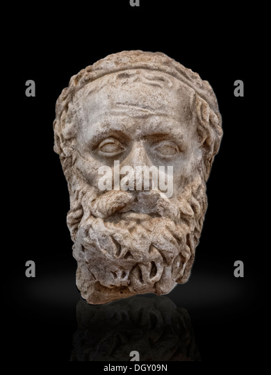 A marble bust of Aeschylus. A great poet and dramatist. Credited to be the Founder of The Greek Tragedy,head on - Stock Image