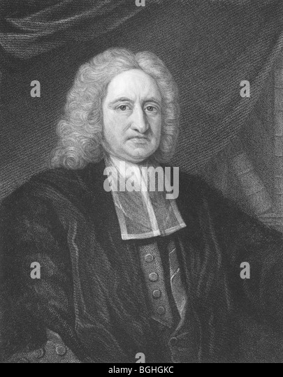 Edmond Halley on engraving from the 1850s. English astronomer, mathematician, physicist, geophysicist and meteorologist. - Stock Image