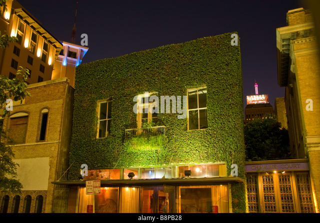 Downtown San Antonio at night illuminated building covered in green ivy Texas tx - Stock Image