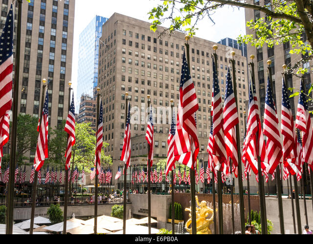 American Flags at Rockefeller Center Plaza, NYC - Stock Image