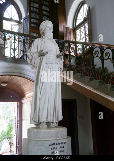 A statue of David Sassoon in the library and reading room in Mumbai India - Stock Image