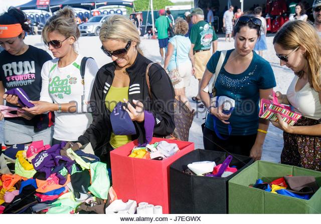 Miami Beach Florida Lummus Park Rock n' Roll Marathon Series charity run runners running race Health and & - Stock Image