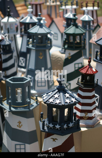 Florida, miniature lighthouses, arts and crafts, - Stock Image