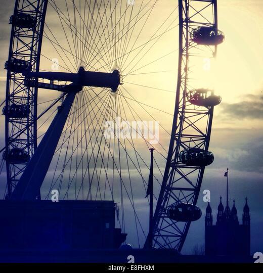 UK, London, Silhouette of London Eye - Stock Image