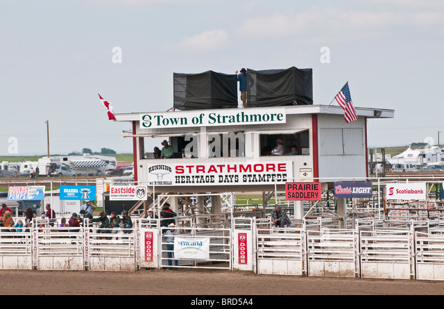 Announcers grandstand and chutes, Strathmore Heritage Days, Rodeo, Strathmore, Alberta, Canada - Stock Image